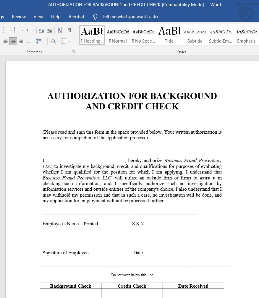 Authorization for background and credit check form