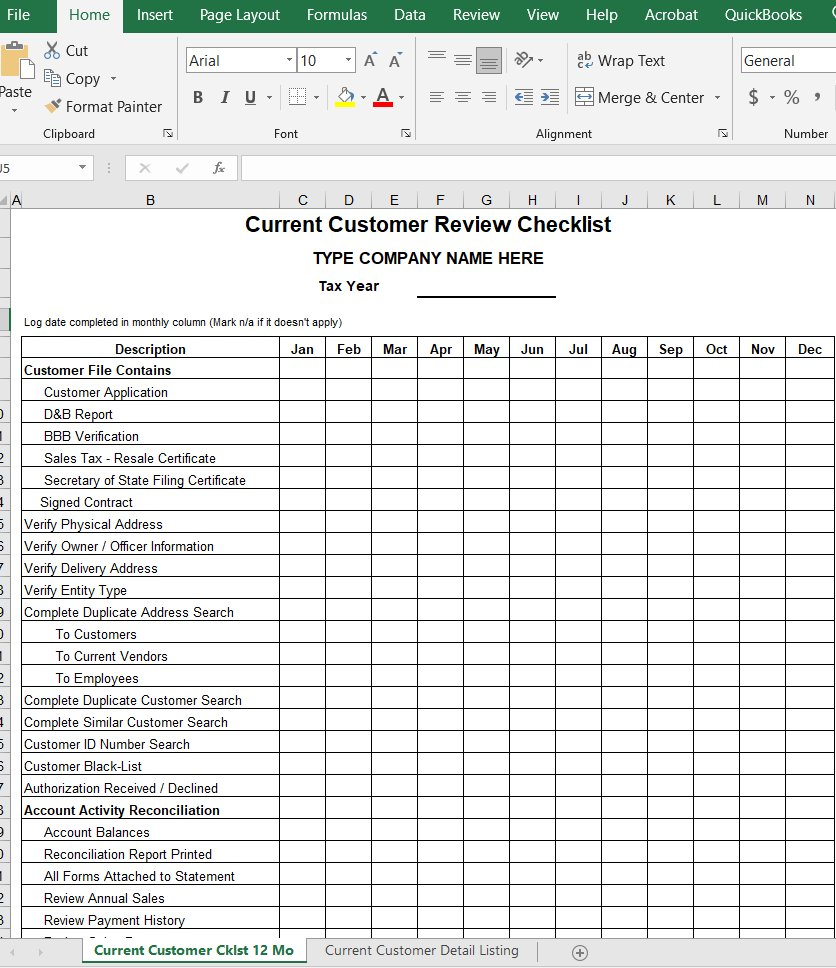 Current Customer Review Checklist 12 Month