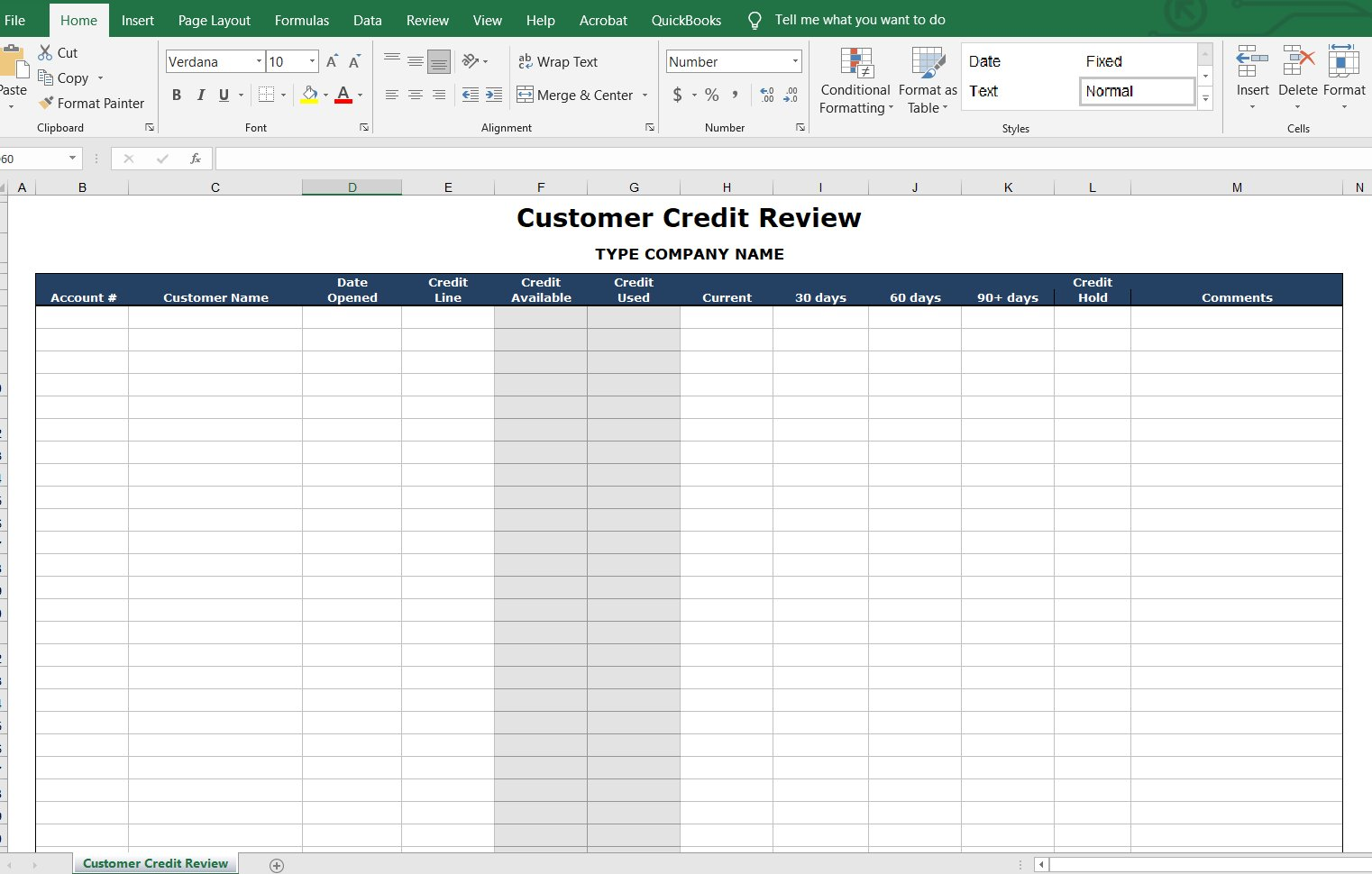 Customer Credit Review Form