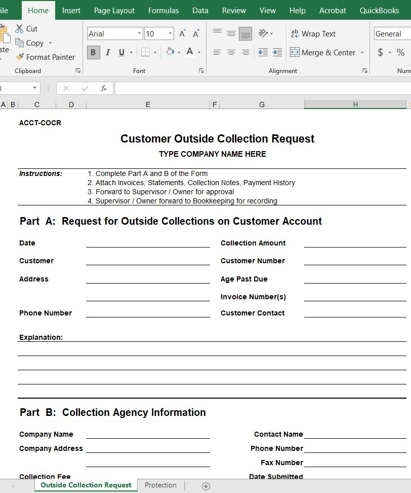 Customer Outside Collection Request Form
