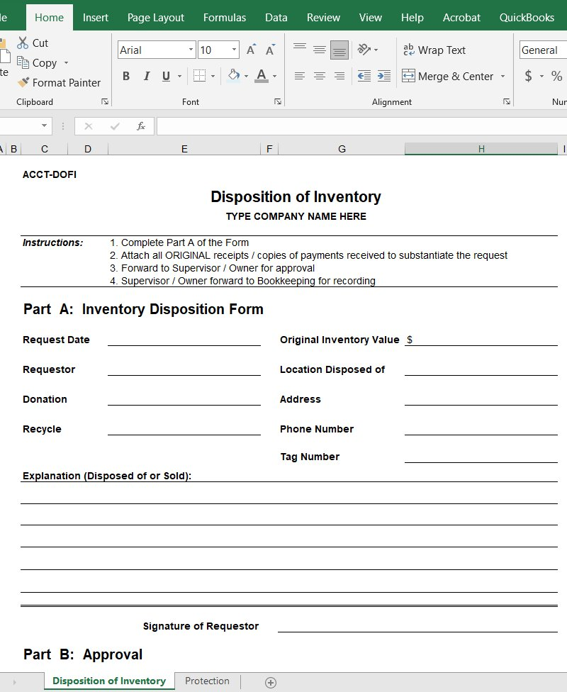 Disposition of Inventory Form