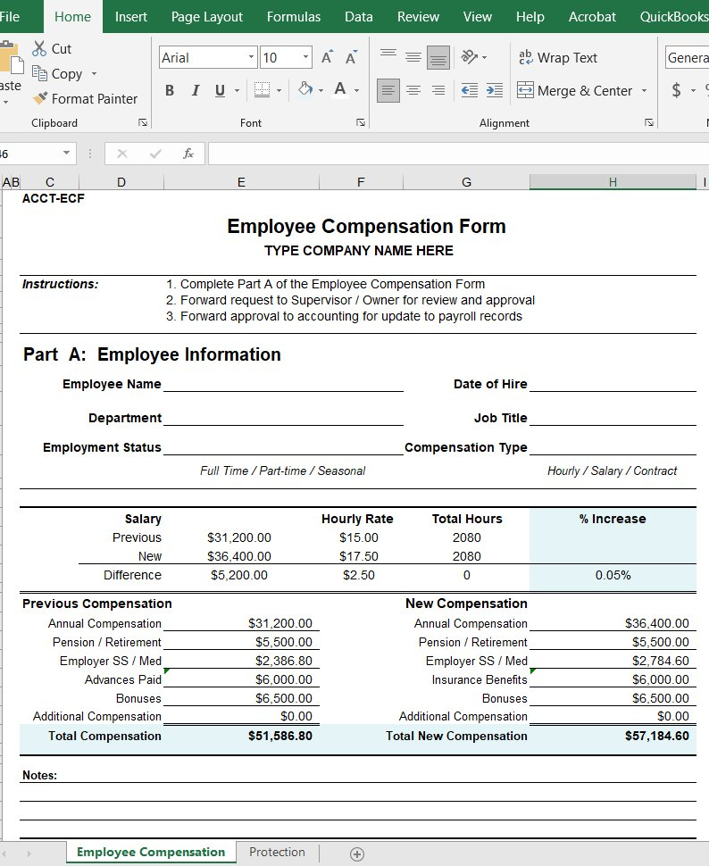Employee Compensation Form