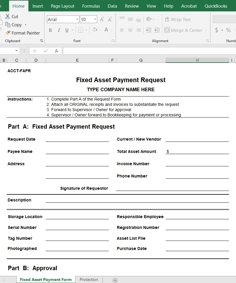 Fixed Asset Payment Request
