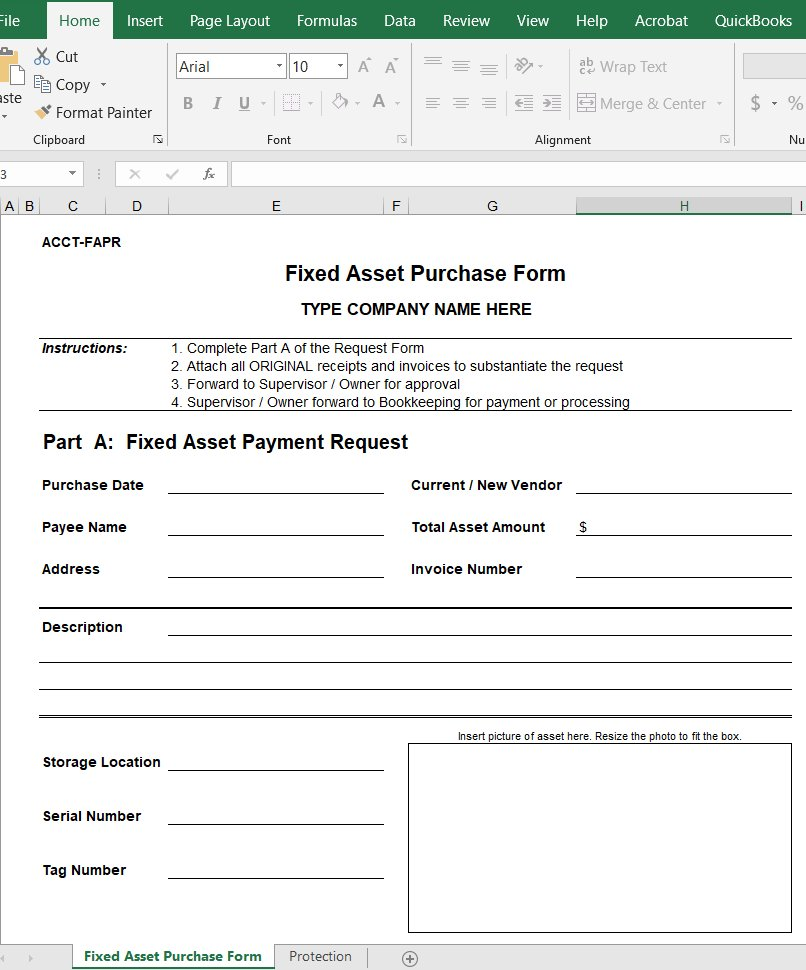 Fixed Asset Purchase Form