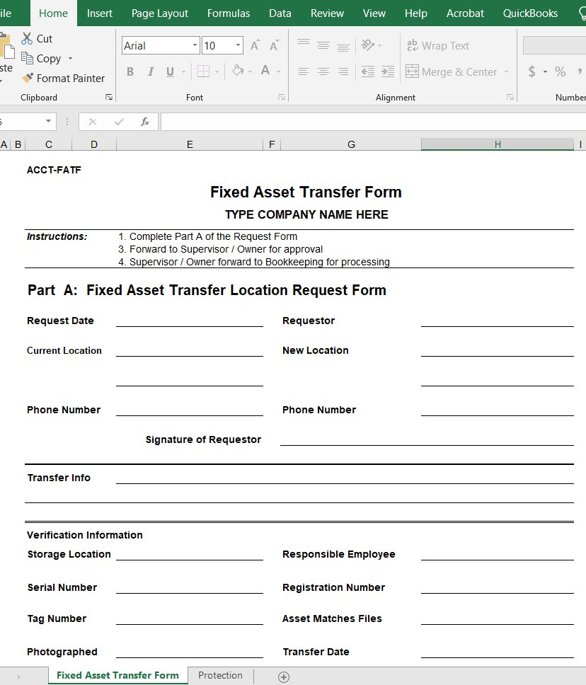 Fixed Asset Transfer Form