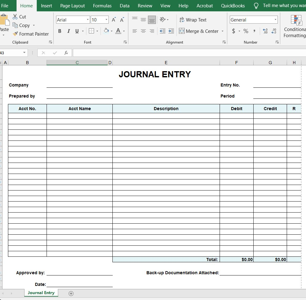 Journal Entry Form