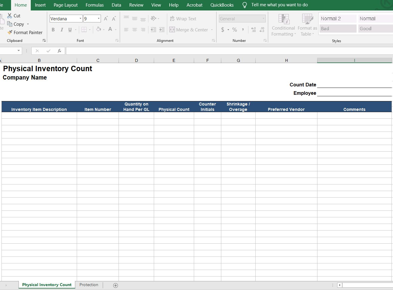 Physical Inventory County Form