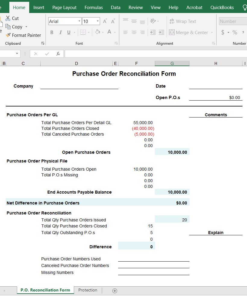 Purchase Order Reconciliation Form