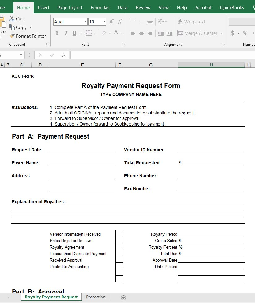 Royalty Payment Request Form
