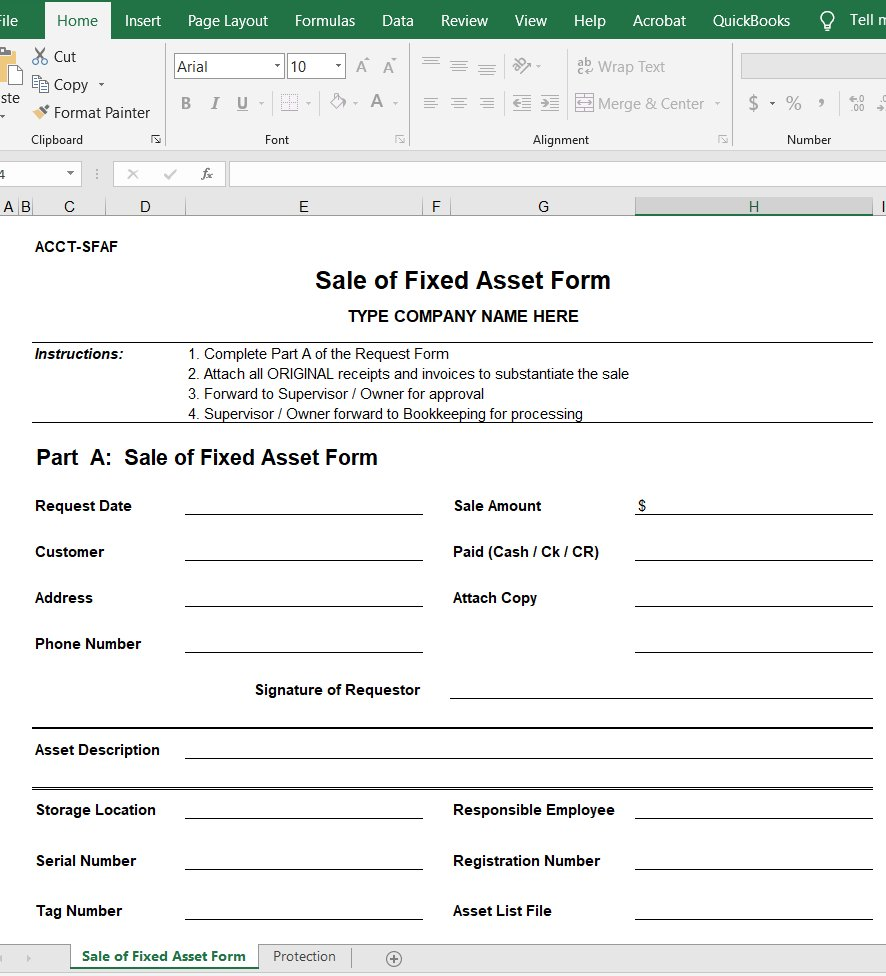 Sale of Fixed Asset Form